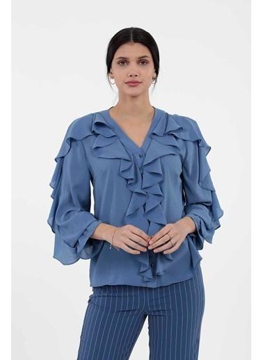 Vitrin Önden Düğmeli Fırfır Detaylı Bluz İndigo